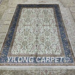 Yilong 4.5'x6.5' All-over Handwoven Silk Rug Family Room Classic Carpet H314b