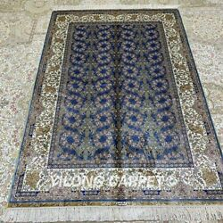 Yilong 4and039x6and039 Handwoven Silk All Over Carpet Blue Home Antistatic Area Rugs Z229a
