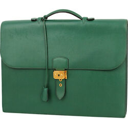Auth Hermes Sac A Depeche 41 Ardennes Leather Green Business Bag Briefcase Men