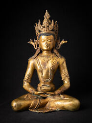 Antique Bronze Nepali Crowned Buddha Statue From Nepal Early 20th Century
