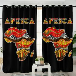 Africa African Tribal World Map Window Living Room Bedroom Curtains Drapes