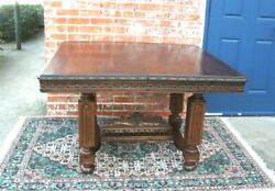 French Antique Carved Oak Brittany Dining Table / Kitchen Table