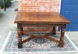 French Country Antique Oak Draw Leaf Dining Table