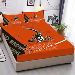 Cleveland Browns Fitted Sheet Set 3pcs Bed Sheet Pillowcases Mattress Cover Gift