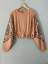 Free People Throwback Embroidered Sleeves Peach Fuzz Top Xs New Was £110