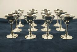 Lot Of 12 Vintage Sterling Silver Sherry Wine Goblets - Free Shipping Usa
