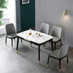 Hot 55 To 71 Extendable Dining Table Rectangular Faux Marble Top Black Legs