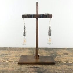 A 19th Century Beech Wood Retort Stand Lamp With Double Edison Pendants