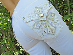Womenand039s Bootcut Embellished White Bling Jeans Size 8-18 New