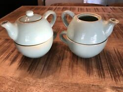 2 Pier 1 Teapot Teacup Stoneware Sets Sage Green amp; Gold Accent New Never Used