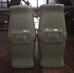 Longaberger Pottery Woven Traditions Sage Salt And Pepper
