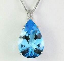 7550 18k White Gold Pear Shape Blue Topaz Pave Diamond Pendant 18and039and039 Necklace