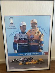 Authentic Autographed Al Unser Jr And Bobby Rahal Framed Poster