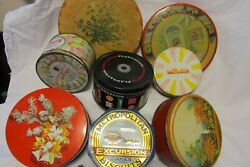 Antique Vintage Round + Tin Litho Candy Cookie And Biscuit Tins Lot Of 8