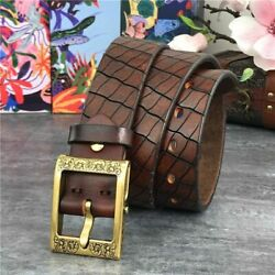Luxury Mens Leather Belt Retro Genuine Brass Buckle Men Belts Hand Carving Thick