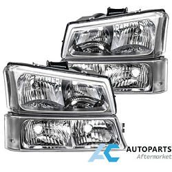 Crystal Headlights Bumper Lamp For 03-06 Chevy Silverado Avalanche Clear Lens
