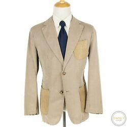 Kiton Tan Cotton Abaca Suede Accents Triple Patch Unstructured Jacket 44r
