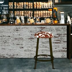24'' Brown Cow Pattern Kitchen Stools Round Backless Metal Bar Stool, Set Of 2