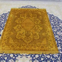 Yilong 4and039x6and039 Gold Living Room Handknotted Silk Rugs Vintage Antique Carpet 077b