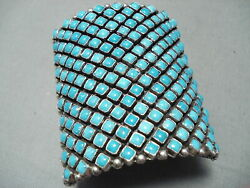 One Of The Best Ever Navajo Turquoise Row Sterling Silver Bracelet