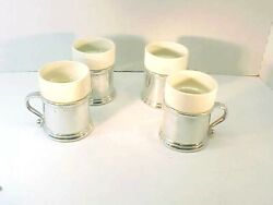 4 Wilton Armetale Queen Anne Pewter Metalware- Mugs And Ceramic Insert Rpw Mint