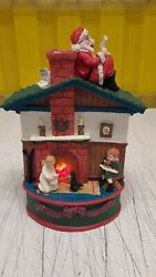 House Of Lloyd 1997 Santa On The Rooftop Music Box Tested All Works