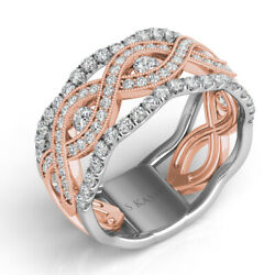 Large .83ct Diamond 14kt White And Rose Gold 3d Classic Multi Row Etoile Fun Ring