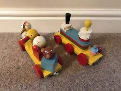 Vintage Retro Wooden Pull Along Toys, Trains X2