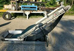 Crizaf Lt/3 Adjustable Incline Cleated Rubber Belt Conveyor 18and039and039 X 97and039and039
