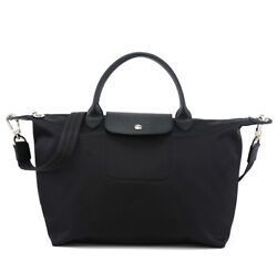 New Auth Longchamp Le Pliage Neo Nylon Tote Handbag Black Bag 1515 Medium $55.00