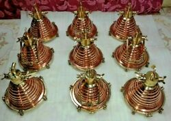 Hanging Cargo Pendant Spot Light Vintage Style Nautical Brass And Copper 9 Piece
