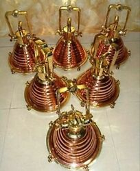 Hanging Cargo Pendant Spot Light Vintage Style Nautical Brass And Copper 6 Piece
