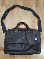 Knomo Warwick Leather Messenger Crossbody Men#x27;s Bag Brown 16quot; wide 11quot; tall $59.99