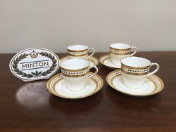 Antique Minton Gold Encrusted Demitasse Cup And Saucer H1491 Set Of 4