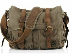 Sechunk Vintage Military Leather Canvas Laptop Bag Messenger Bags Medium $33.97