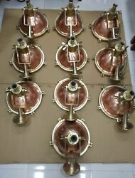 Nautical Vintage Style Ceiling Mount Pendant Spot Light Copper And Brass 10 Piece