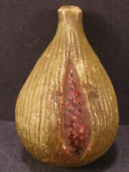 Antique Italian Alabaster Carved Stone Marble Fruit Red Seeds Yellow Guava Pear