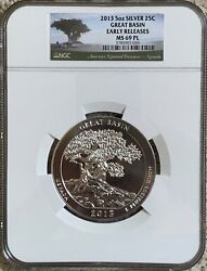 2013 5oz Silver Great Basin America The Beautiful Atb Ngc Ms69 Pl Early Releases