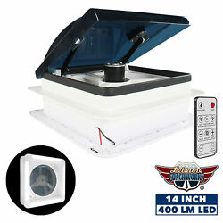 Lcw Rv Electric Vent 6-speed Fan With Led Light Smoked Lid Rain Sensor Remote