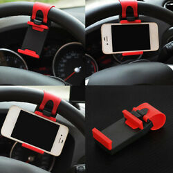 1x Car Gps Phone Holder Mount Stand Steering Wheel Clip Interior Accessories
