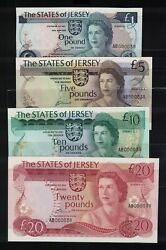 Jerseystates Of Jersey1976-881-20 Poundsmatched Low Numbers Uncirculated