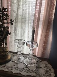 2 Pottery Barn Large Glass Sphere Taper/pillar Holders Heavy 9 Inches