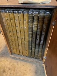 Antique Card Tables Set Of 10 In Solid Rolling Wooden Case Very Good Condition