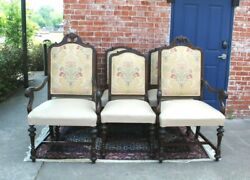 Set Of 6 American Antique Mahogany Upholstered Leather Dining Chairs