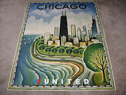 United Airlines Travel Poster 2004 Chicago Sears Tower Lake Side Drive New Mint