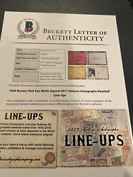 1946 Boston Red Sox 7/10 2017 Historic Autographs Line Ups