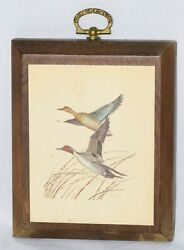2 Duck Pictures On Wood Panels With Hanging Bracket - 5 X 4 X 0.7 @ 4 Oz Each