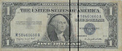 1957 1 Blue Seal Silver Certificate, Rare Bank Stamp On Bill, Check It Out