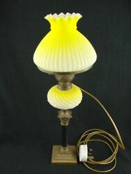 Pretty 19th C Small Oil Lamp Converted To Electric Graduated Yellow Font And Shade