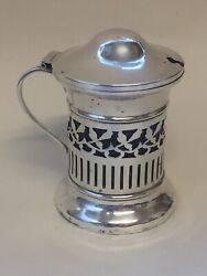 Gorgeous Antique Sterling Silver And Bristol Blue Glass Condiment/mustard Pot
